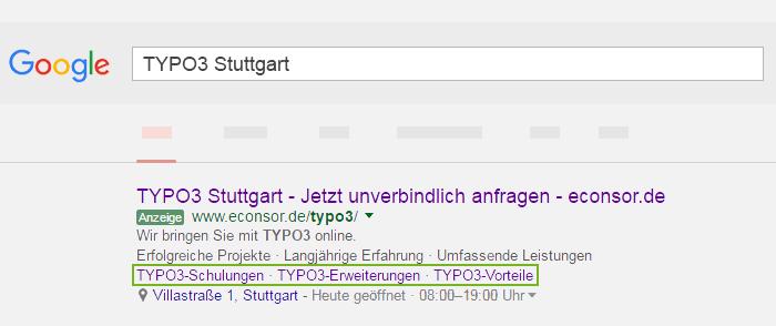 Screenshot Sitelinks
