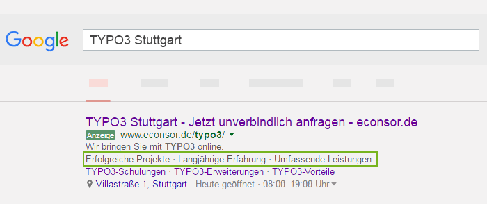 Screenshot TYPO 3 Google