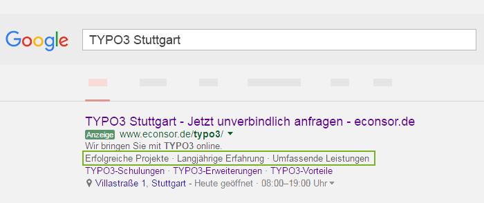 Screenshot TYPO 3 Google