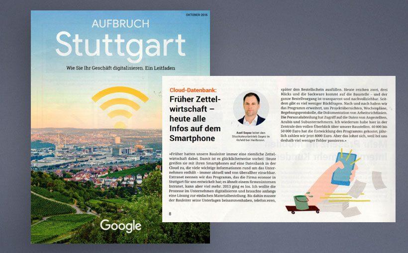 Google berichtet in Ausbruch Stuttgart über eine Webanwendung von econsor