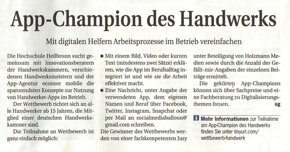 Zeitungsartikel App Champion