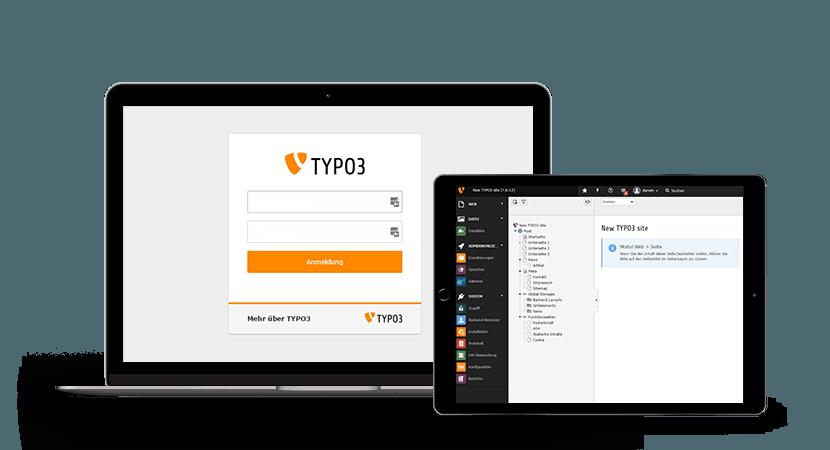 Übersichtliche TYPO3 Benutzeroberfläche Screenshot