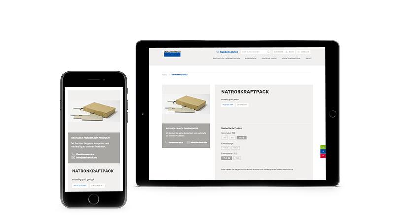 Die responsive Produktdetailseite von Berberich Papier