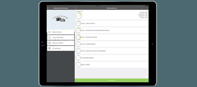 Ipad mit App-Referenz - Fahrlehrer App