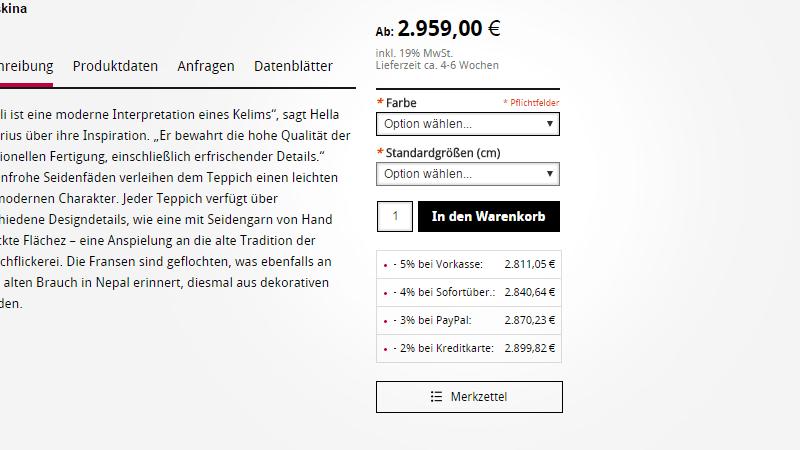 Materialrechner auf der Lamisse-Homepage