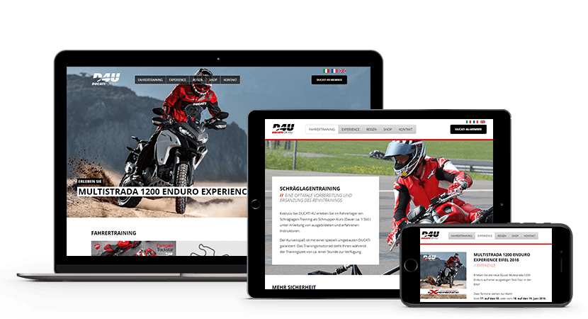 Relaunch der Ducati-Homepage Screenshot