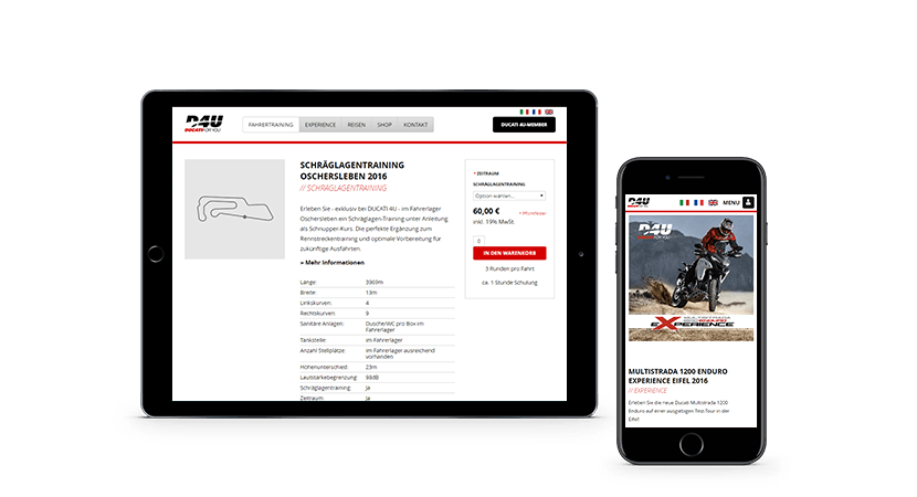 Ducati Online-Shop Screenshot