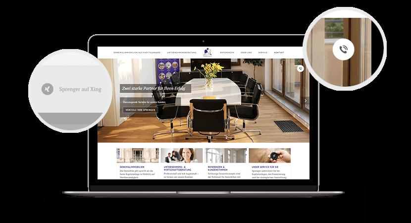 Sprenger-Webseite-Bedienelemente
