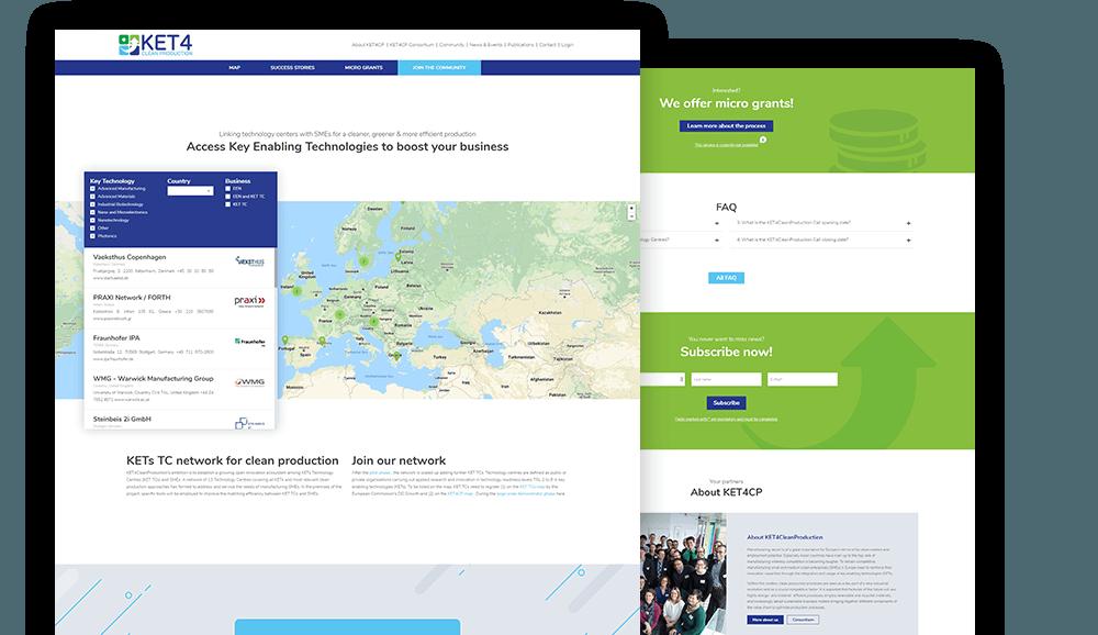 KET4CP Startseite in verschiedenen Bereichen