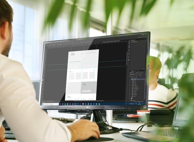 Wireframe Entwurf am Desktop