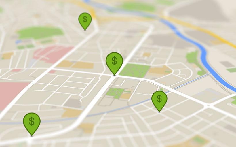 Maps Karte mit Geld Pins