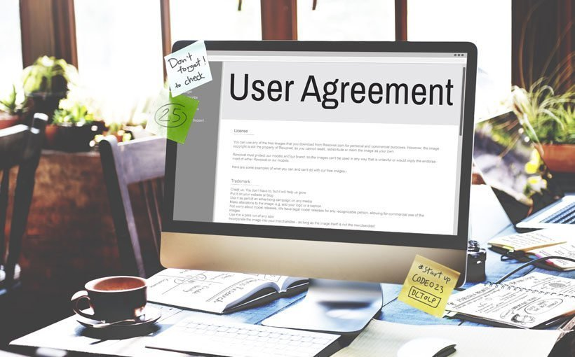 User Agreement auf einem Computer Bildschirm