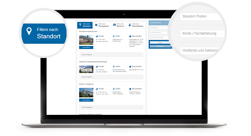 Die RKH Webseite mit den verschiedenen Kliniken