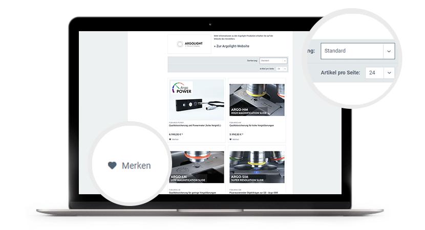 Online-Shop von AHF mit Filter und Merkfunktion