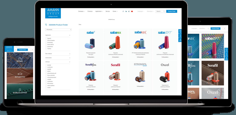 AMANN Webseite auf verschiedenen Geräten