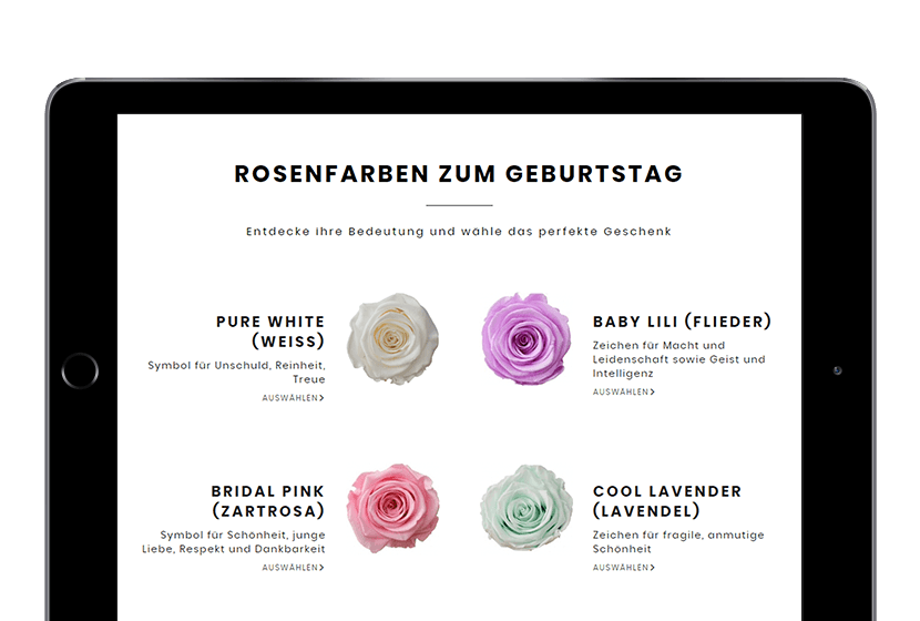 Love-Flowerbox-Website on iPad birthday recommendations