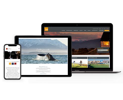 Mockup von Macbook, IPad und iPhone von den Seiten golf.extra, tps-reisen und emu