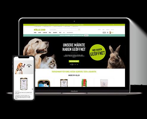 Mockup der Webseite von KÖLLE ZOO auf dem Macbook und dem iPhone X