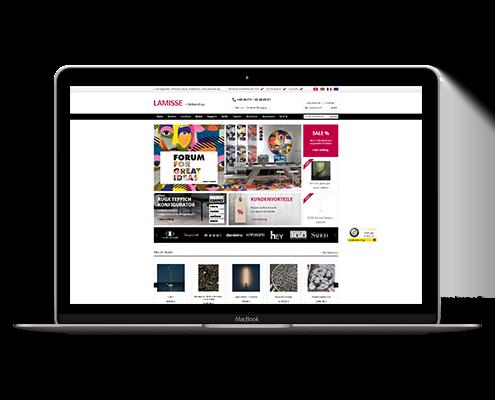 Mockup der Webseite LAMISSE auf einem Macbook
