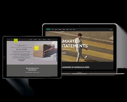 Die Startseiten von Modehaus Palm und Modehaus Bär auf einem Macbook und einem iPad